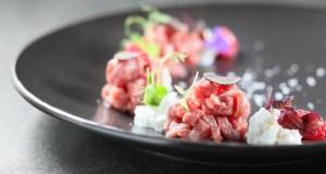 Butcher Beef Tartare with Raspberry, Burrata Cheese and Black Truffle