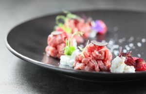 Butcher Beef Tartare with Raspberry, Burrata Cheese and Black Truffle