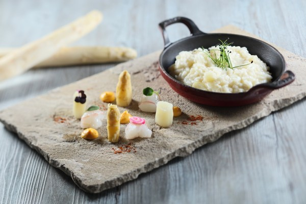 Risotto with White Asparagus, Raw Scampi, Egg Yolk Cream and Parmigiano