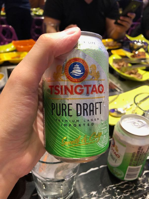 A can of Tsingtao Pure Draft beer