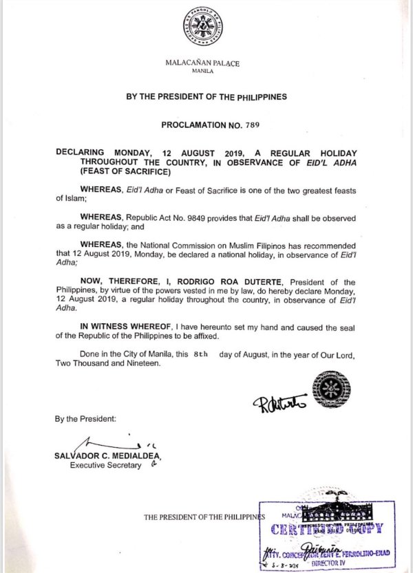 Palace declares Aug. 12 a regular holiday for Eid'l Adha