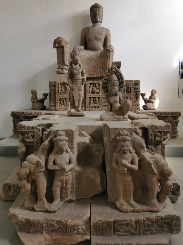 Collection of Cham Sandstone Sculptures in Danang Vietnam