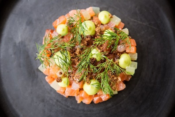 Hendricks Gin and Tonic-Cured King Salmon in Guest Chef Paul Welburn's menu