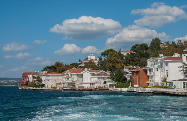 Several stately homes line the shore in the Asian side of Istanbul.