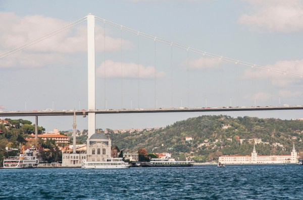 The Baroque Ortakoy Mosque is dwarfed by the 165-meter tall Bosphorus Bridge.