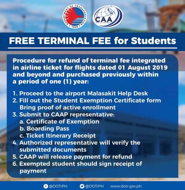 free terminal fee for Students