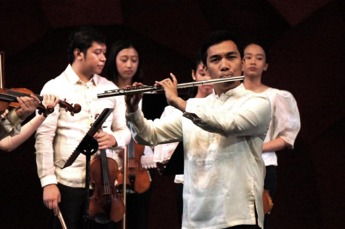 Gabriel Art Mendoza (arranger of two numbers played by Pundaquit Virtuosi in the concert, NAMCYA 2017 Senior Strings Category 2nd Prize Winner, Highest Prize awarded and Best Interpretation of Contest Piece) and Nico Emmanuel Dioneda (Pundaquit Virtuosi soloist, NAMCYA 2015 and 2017 Woodwinds Category National Finalist)