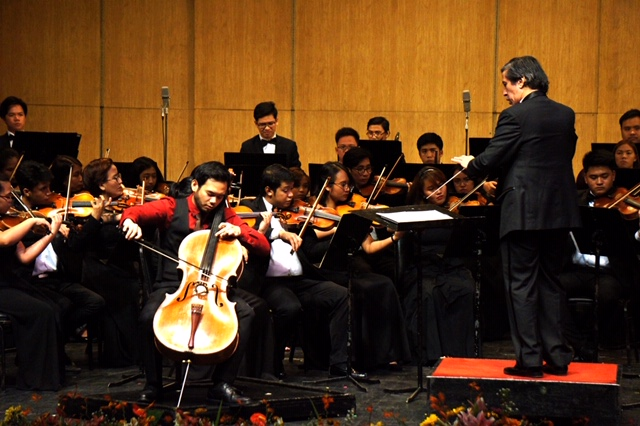 Giancarlo Castrillo Gonzales, cello, Dr. Renato B. Lucas, conductor and UST Symphony Orchestra