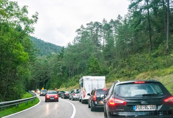 Heavy traffic builds up as we crossed into Austria headed for nearby Innsbruck.