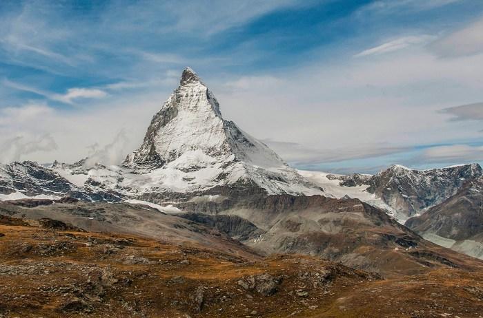 The pointed Matterhorn in Zermatt stands at 4,478 meters