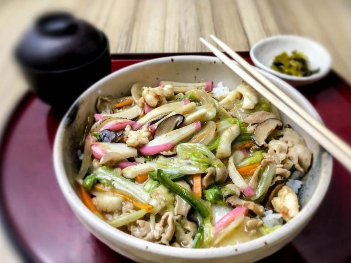 Chopsuey, prepared the Japanese way, is one of Kitsho's savory Japanese rice meals.