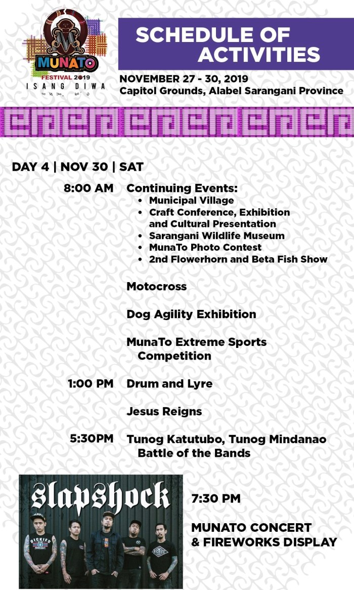 2019 Munato Festival Schedule of Activities