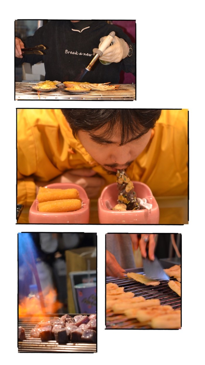 From top to bottom_ Buttered scallops; Modern Toilet's Mozarella Sticks and Poop Ice Cream; pancakes, torched Wagyu beef