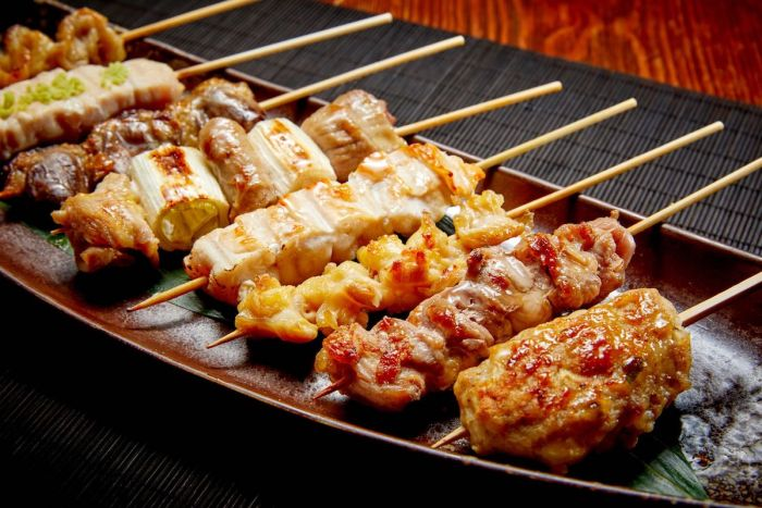 Just like 'yakitori' grills, KIDO's signature specialty is Yakitori Chicken Skewers