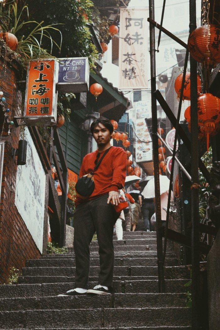 The stairs around Jiufen Old Street are decorated with Chinese red lantern