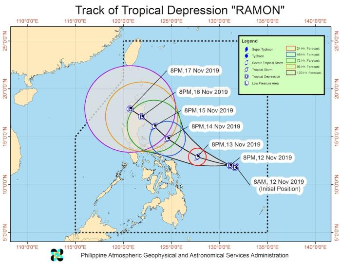 Tropical Depression Ramon Forecast Position
