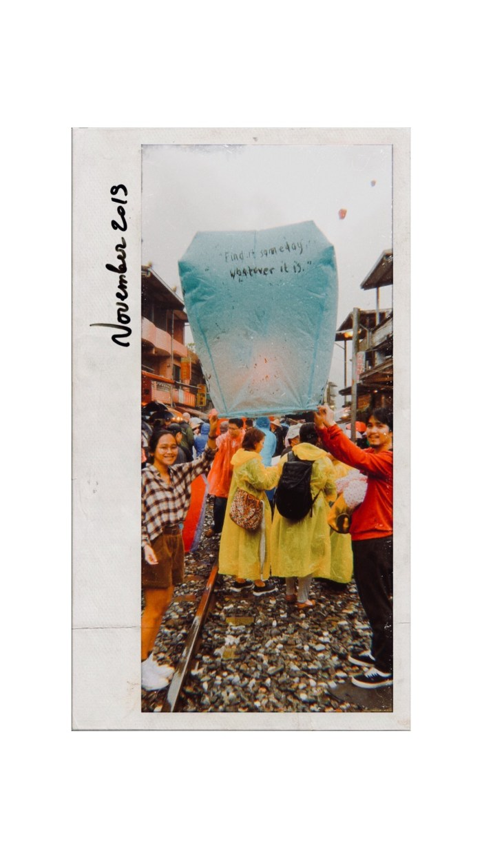 We sent a sky lantern up into the clouds with our wishes at Shifen Old Street
