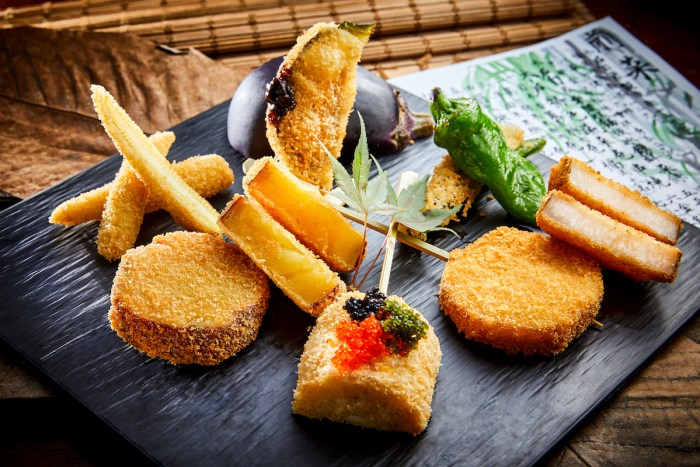 Deep-fried 'kushikatsu' skewers are also on the menu, with popular favourites from across Japan