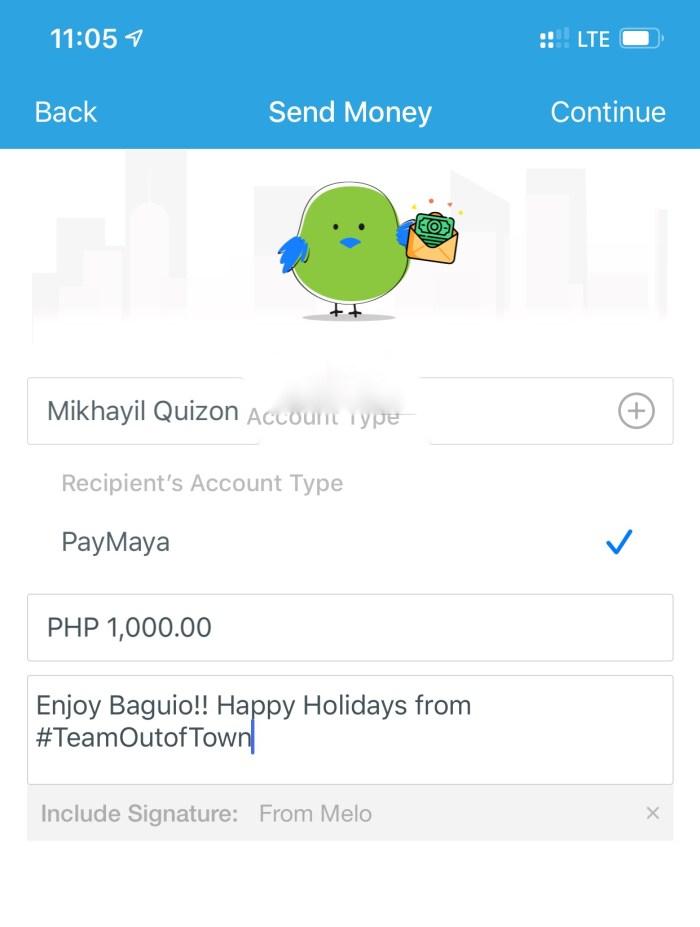 Send Money using PayMaya