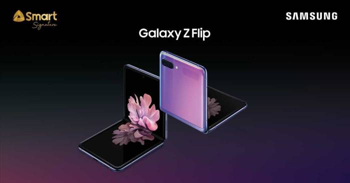 Switch to Smart's fastest LTE now with the new Samsung Galaxy Z-Flip. Get #YourSignature Galaxy at 0% installment available for Plans 1999 & 2999. Pre-order until February 20 at Smart stores nationwide. Visit www.smart.com.ph/galaxyzflip to know more.