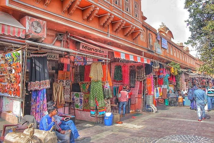 Colorful shops dots the bazaars of Jaipur
