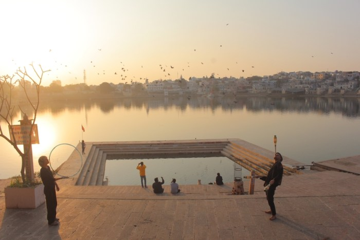Watching the sunset from one of the Ghats at Pushkar Lake