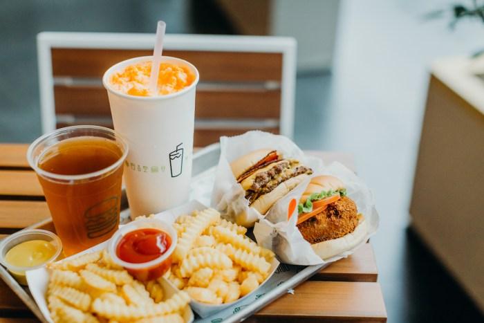 Shack Burgers, crinkle-cut fries, beer and creamsicle float