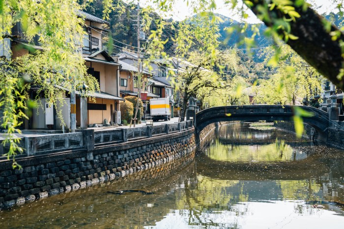 Kinosaki Onsen village at spring in Hyogo, Japan photo-via-Depositphotos