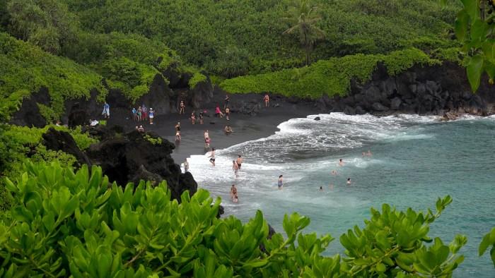 Black Sand Beach at Waianapanapa State Park, Maui photo via DepositPhotos