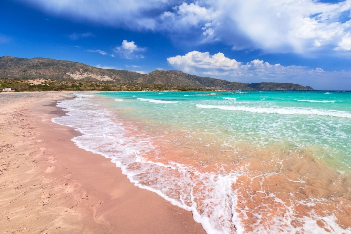 Elafonissi beach with pink sand on Crete photo via Depositphotos.com