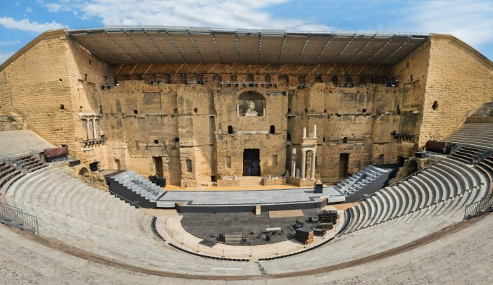 Ancient Roman theater in Orange, southern France photo via Deposit Photos