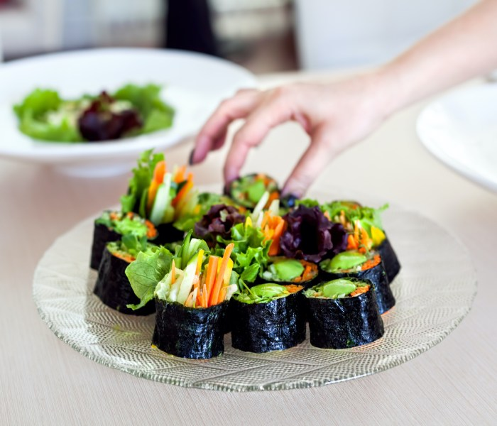 Raw vegan sushi rolls with vegetables via Depositphotos