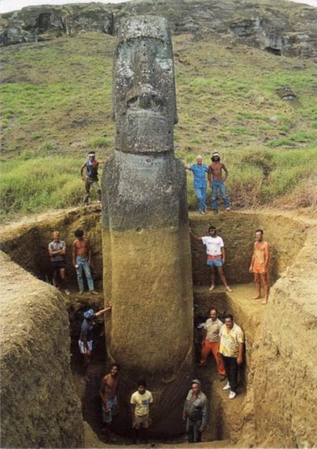 A fully excavated Easter Island head. Photo: courtesy the Easter Island Statue Project.