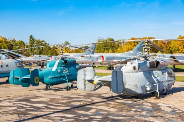 Helicopter in Kiev National Aviation Museum photo via Depositphotos