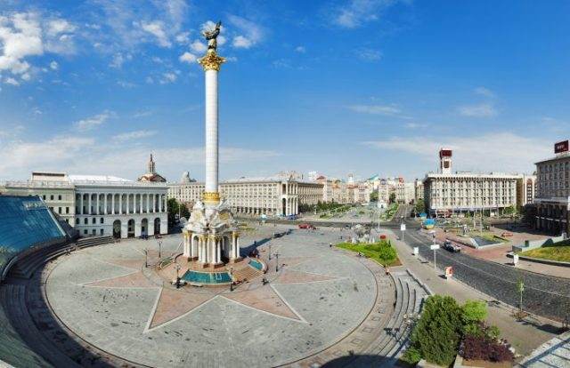 Independence Square with monument to Berehynia in Kyiv photo via Depositphotos