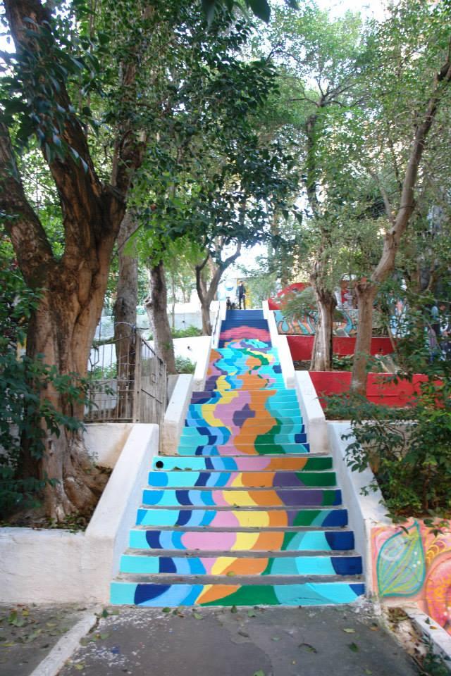 Uma das atividades desenvolvidas pelo Cidade Ativa na escadaria Alves Guimarães foi a pintura dos degraus (foto: Facebook/Cidade Ativa)