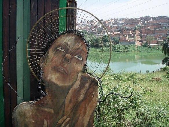 Intervenção do projeto Imargem, que articula arte, defesa do meio ambiente e convivência para  enfrentar isolamento das comunidades às margens da Represa Billings, região do Grajaú, São Paulo