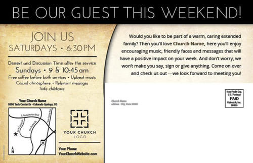Pastor Invitation Postcard Church Postcards Outreach