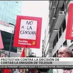 Argentinos protestam contra suspensão de transmissão da Telesul