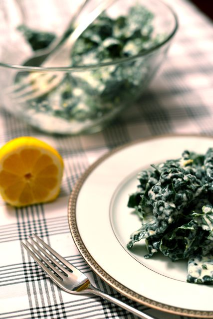 Kale Salad with Lemon Cream Dressing Vertical