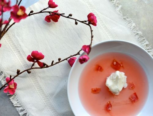Rhubarb Soup with Yogurt Ice Cream Horizontal