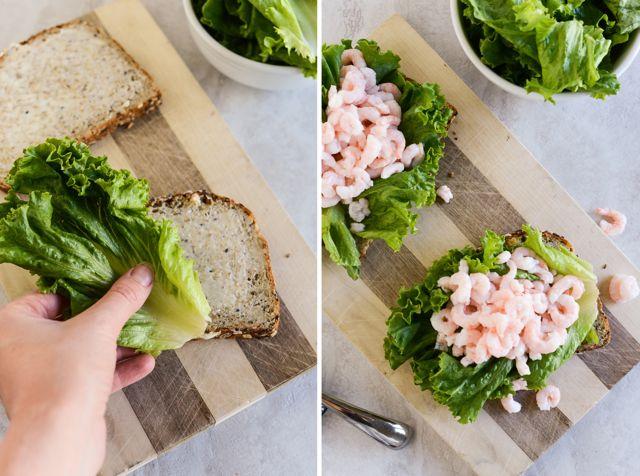 Assembling Shrimp Smørrebrød