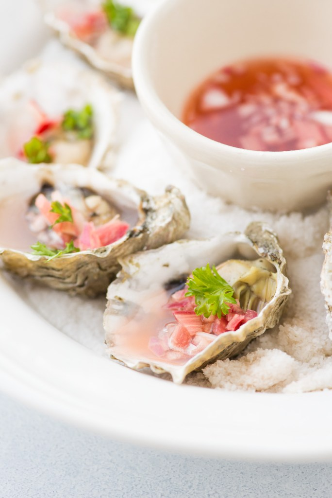 Oysters with Rhubarb Mignonette