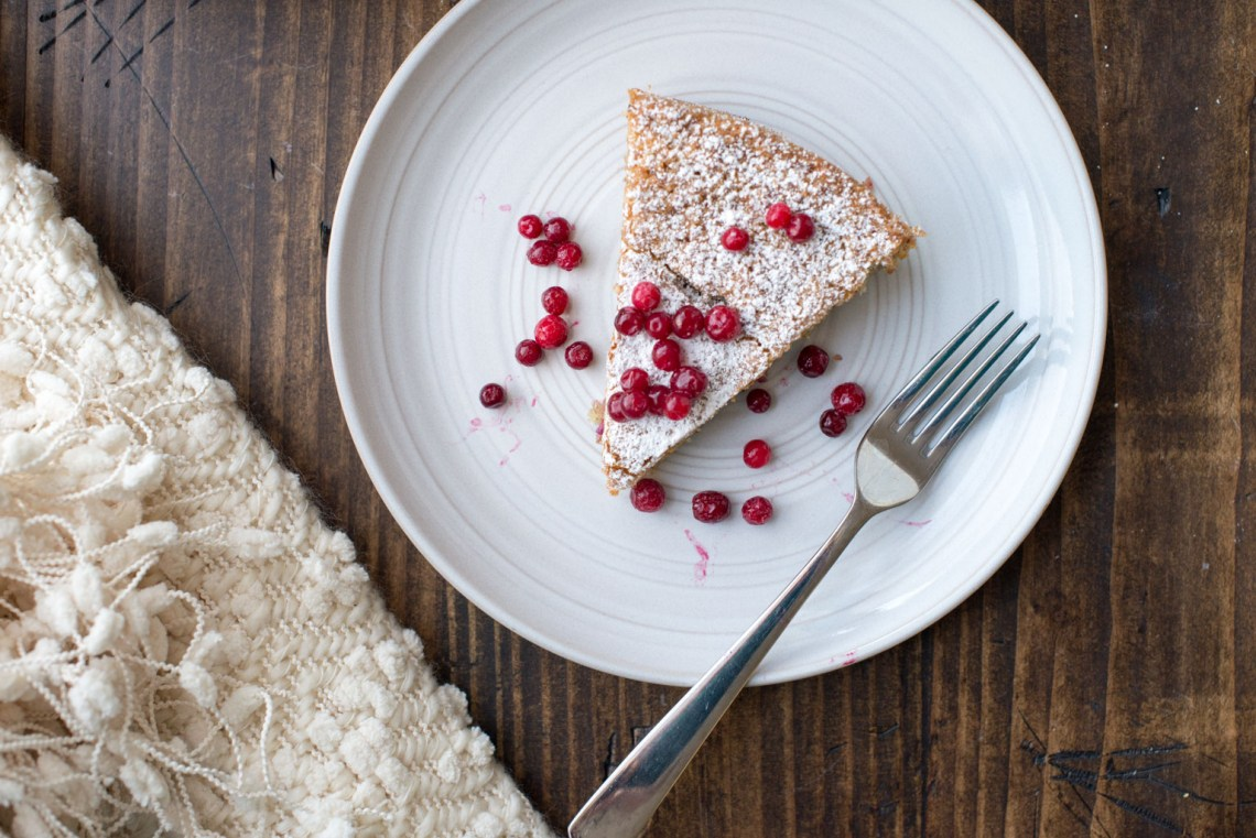 Almond Cake with Lingonberries