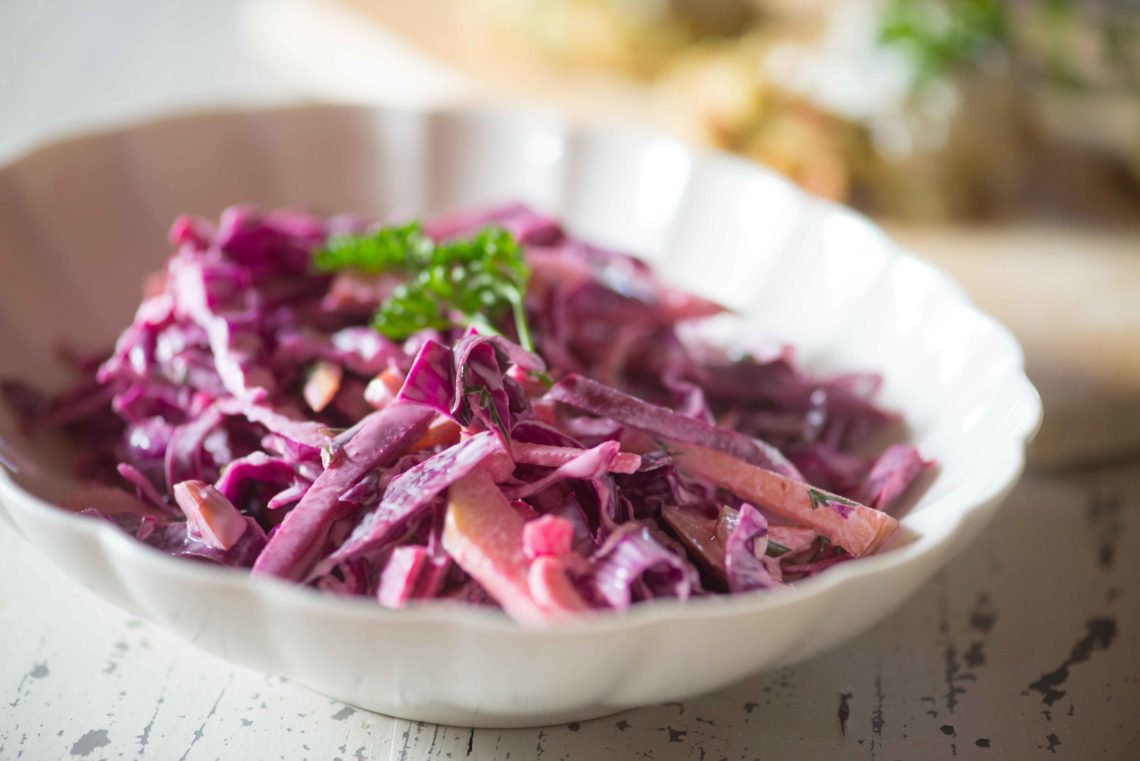 Red Cabbage Slaw with Apples, Beets, and Dill