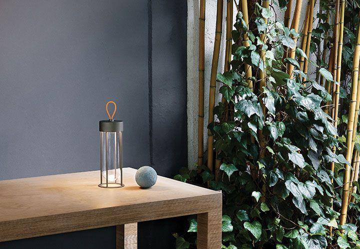 Lámpara portatil con batwería recargable para iluminación de terrazas