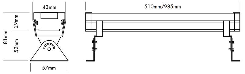 Medidas bañador lineal led RGB