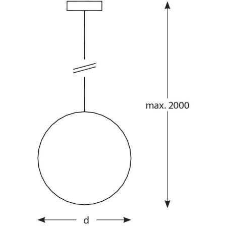 Lámpara suspendida, globo de cristal