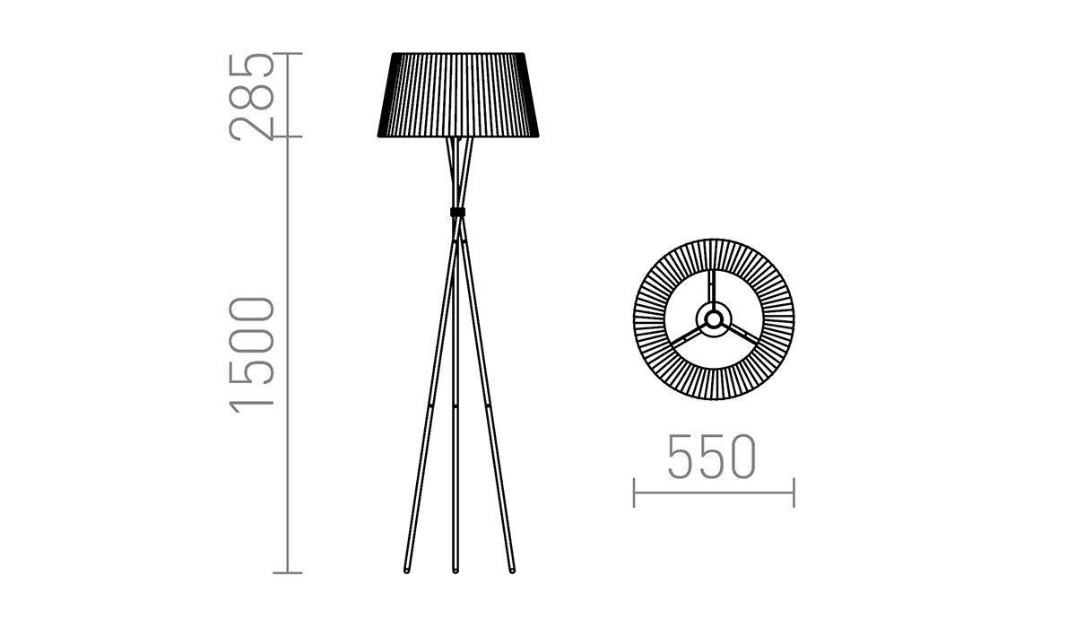 medidas lámpara de pie de trípode