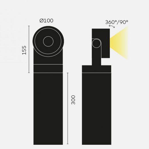 proyector led exterior en columna